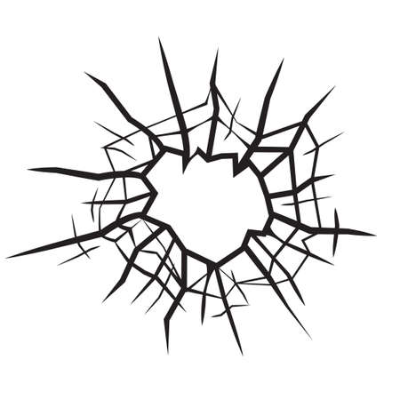 bullets: hole in glass cracked glass black and white vector Illustration