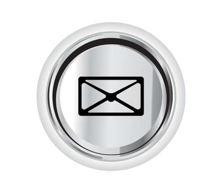 icon contact: vector mail icon on a button illustration symbol sign