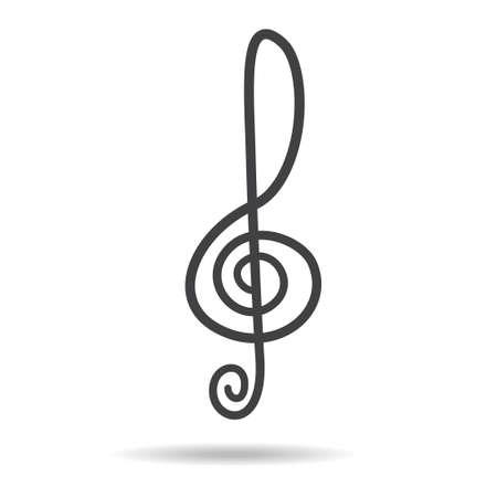 chiave di violino: violino chiave segno vettore simbolo musica nera