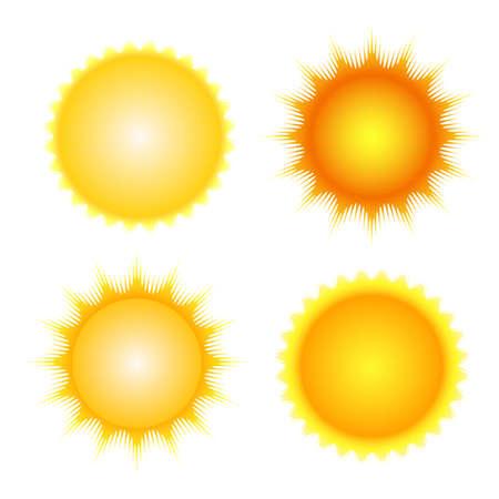 태양 아이콘 설정 벡터 오렌지와 노란 태양 기호