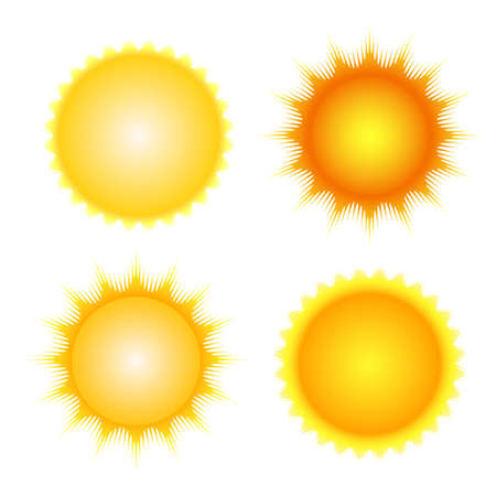 sun: sun icon set vector orange and yellow sun symbols
