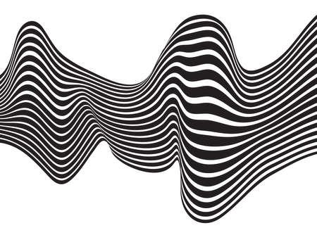 arte optico: Mobious vector de fondo de onda arte óptico blanco y negro