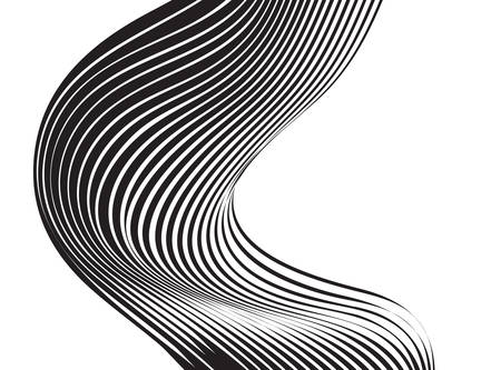 black and white mobious wave stripe optical design  イラスト・ベクター素材