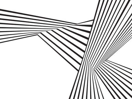 illustration line art: black and white mobious wave stripe optical abstract design Illustration