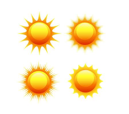 sun: sun icon set vector orange and yellow sun symbols