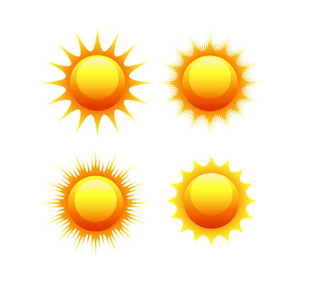 sun icon set vector orange and yellow sun symbols