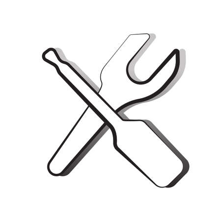 forkwrench: repair symbol vector icon illustration clip art Illustration