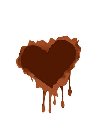brown: brown chocolate heart concept vector icon  design