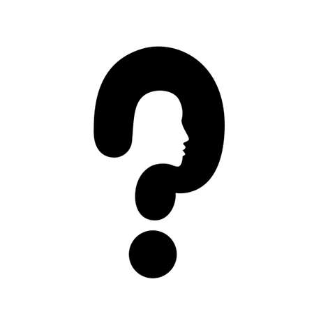 unsolvable: question mark head black symbol vector