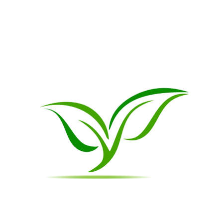 green leaf symbol illustration icon