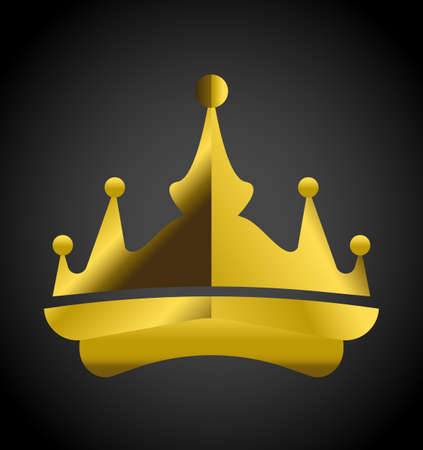 aristocracy: simple design elements. Gold Crown on black