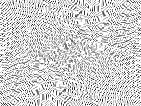 distortion: Black and White Abstract Pattern with Swirling Distortion Effect. Spiral, Twirl Background Illustration