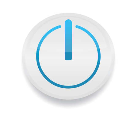 Button w power symbol on circles. Start, begin, initiate, play icon