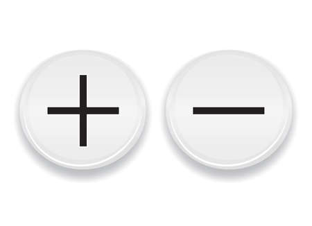 Stylish plus minus signs on button