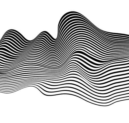 black and white mobious wave stripe optical design opart  イラスト・ベクター素材