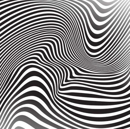 arte optico: arte óptico Fondo ondulado rayas opart Vectores
