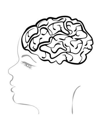 woman headache: concept of a headache. open the skull and brain of a woman Illustration