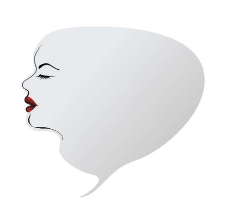 black lady talking: woman face as seech bubble thinking conception