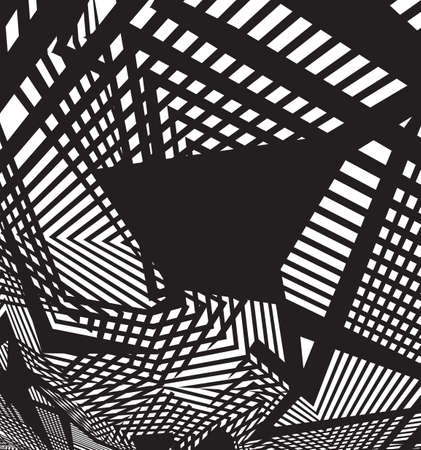 arte optico: optical art background, op art, black and white design straiight lines and shapes Vectores