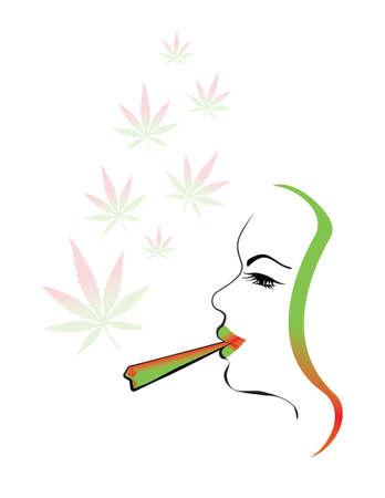 cannabis leaf: marijuana smoking woman illustration with cannabis leaf