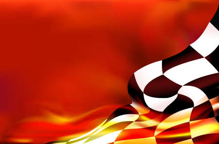 checkered flag background and red flames Vectores