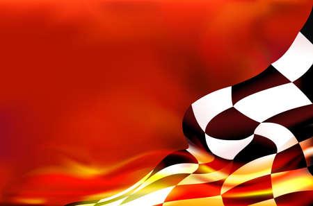 damier fond de drapeau et des flammes rouges Vecteurs