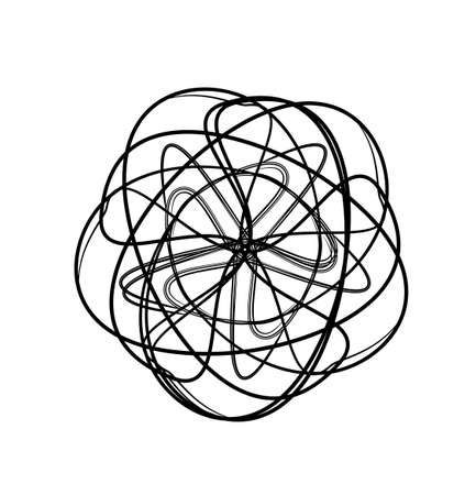 oscillation: spirograph abstract black and white design element Illustration