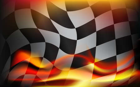 checkered flag background and red flames 矢量图像