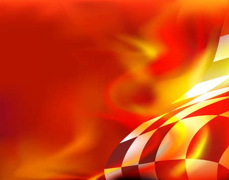 checkered flag background and red flames Illustration
