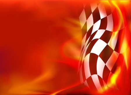 チェッカーフラッグ背景と赤い炎  イラスト・ベクター素材