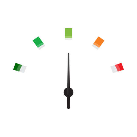 km: Speedometer icon or sign with arrow. Colorful Infographic gauge element. Vector illustration.