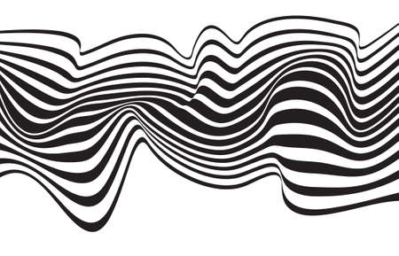 trickery: optical art opart striped wavy background abstract waves black and white
