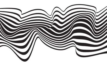 Optische Kunst opart gestreiften Hintergrund wellig abstrakte Wellen schwarz und weiß