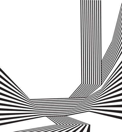 striped lines: black and white mobious wave stripe optical abstract design Illustration