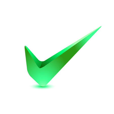 grant: 3d Green check mark, tick icon. illustration.