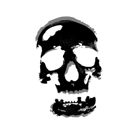 lethal: grunge skull on white background illustration with textures Illustration