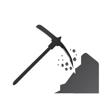 ice axe: pick axe flat icon with reflection on gray background