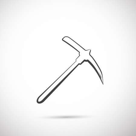 pick axe: pick axe flat icon with reflection on gray background