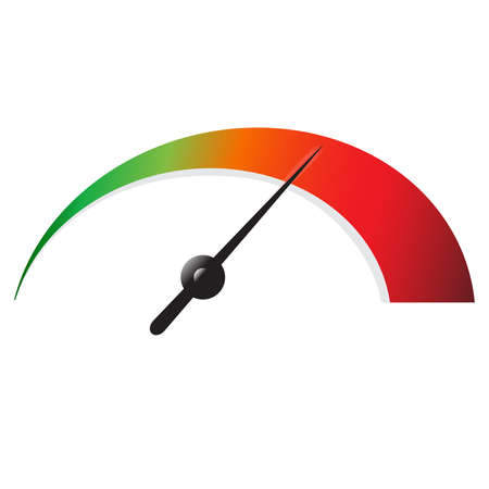 Speedometer icon or sign with arrow. Colorful Infographic gauge element. Vector illustration.
