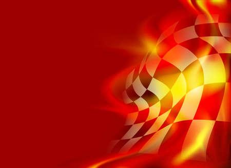 damier fond de drapeau et des flammes rouges
