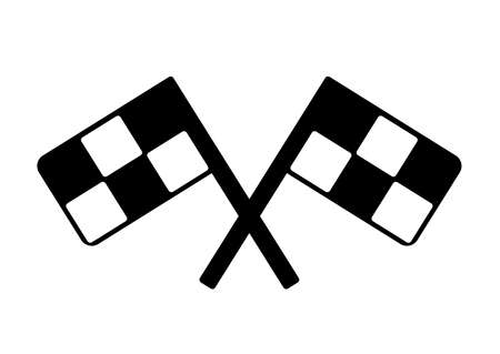 racing checkered flag crossed: race flag  crossed checkered flag black and white