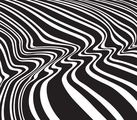 gray strip backdrop: optical art opart striped wavy background abstract waves black and white