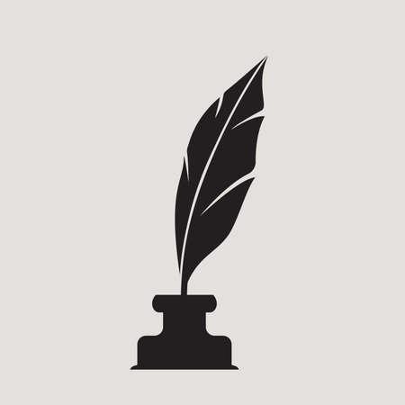 stylo et bouteille d'encre symbole vecteur signe, icône plat Vecteurs