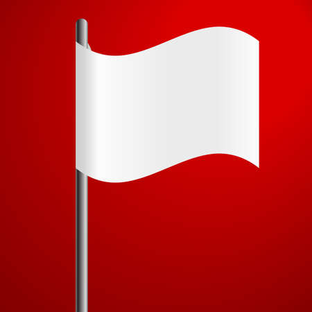 surrender: white flag on red background defeat symbol