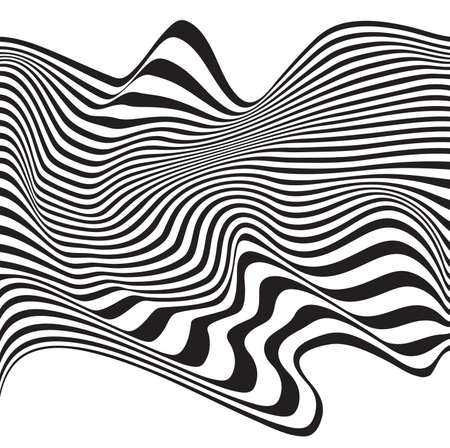 mobius loop: optical art opart striped wavy background abstract waves black and white