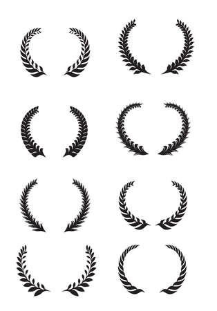 laurel wreath set. wheat set frame elements of success Illustration