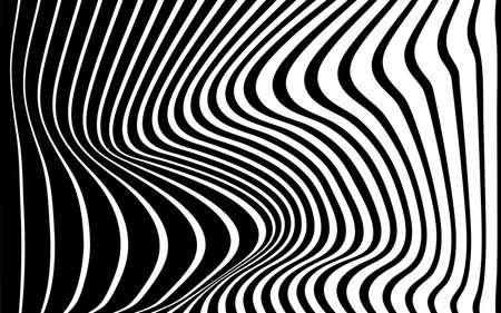 disegno astratto dell'onda del fondo di arte ottica in bianco e nero