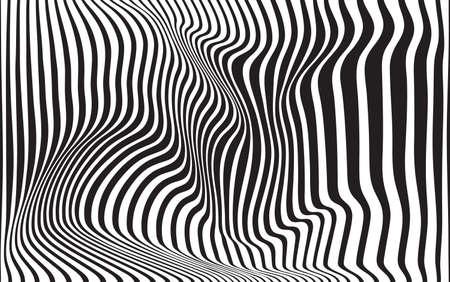 diseño de onda óptica de fondo abstracto de arte blanco y negro Ilustración de vector