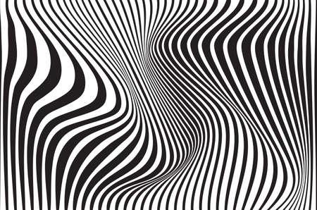 optical art abstract background wave design black and white Vektorové ilustrace