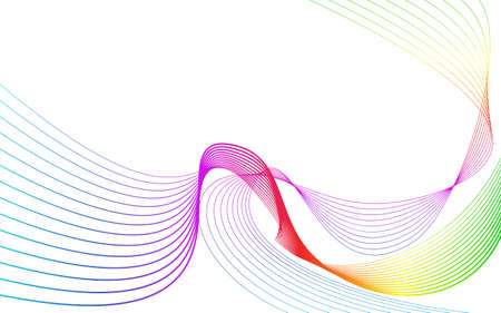 Rainbow color abstract wave background template full spectrum stripes.